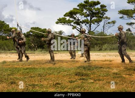 Marines with 3rd Reconnaissance Battalion, 3rd Marine Division, and Airmen with 320th Special Tactics Squadron conduct special patrol insertion/extraction training with a Bell UH-1Y Venom helicopter at Landing Zone Dodo, Okinawa, Japan, Aug. 28, 2018.  SPIE rigging is used to insert or extract personnel in rough terrain, jungle, or water environments when conventional landing is not possible. - Stock Photo