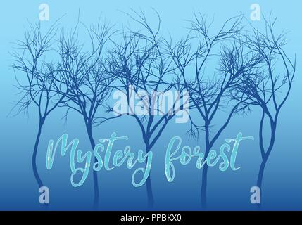 Mystery forest with dark trees and blue night sky, vector background illustration - Stock Photo