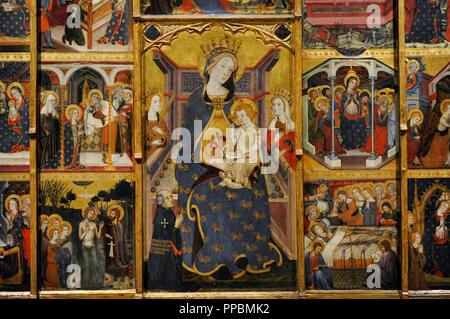 Jaume Serra (active in Barcelona, 1358-d.1389/1395). Spanish painter. Altarpiece of the Virgin, ca.1367-1381. Detail. Gothic. From the Monastery of Santa Maria de Sigena (Villanueva de Sigena, Huesca province). National Art Museum of Catalonia. Barcelona. Catalonia. Spain. - Stock Photo