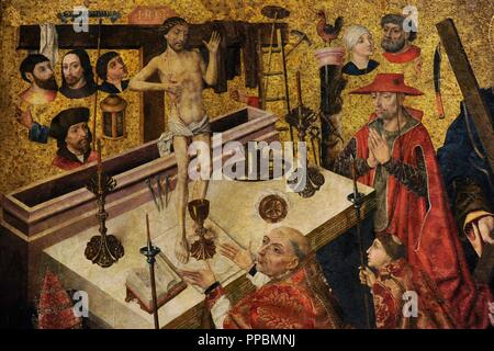 Diego de la Cruz (documented between 1482-1495). The Mass of Saint Gregory, before 1480. Detail. From the Monastery of Fredesval (Burgos province). National Art Museum of Catalonia. Barcelona. Catalonia. Spain. - Stock Photo