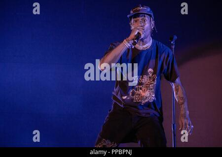 September 23, 2018 - Las Vegas, Nevada, U.S - Rapper TRAVIS SCOTT during Life Is Beautiful Music Festival in Las Vegas, Nevada (Credit Image: © Daniel DeSlover/ZUMA Wire) - Stock Photo