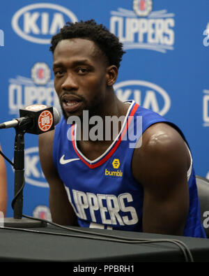 Los Angeles, CA, USA. 24th Sep, 2018. LA Clippers guard Patrick Beverley (21) at Los Angles Clippers Media Day at Training Facility on September 24, 2018. (Photo by Jevone Moore) Credit: csm/Alamy Live News - Stock Photo