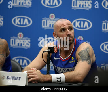 Los Angeles, CA, USA. 24th Sep, 2018. LA Clippers center Marcin Gortat (13) at Los Angles Clippers Media Day at Training Facility on September 24, 2018. (Photo by Jevone Moore) Credit: csm/Alamy Live News - Stock Photo