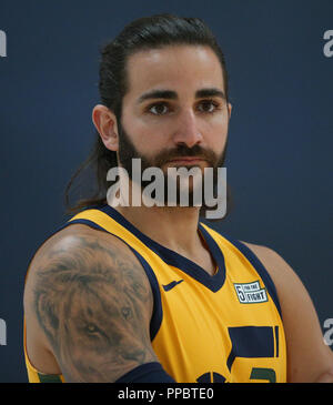 Salt Lake City, Estados Unidos. 24th Sep, 2018. Utah Jazz Ricky Rubio, of Spain, poses during the team's media day, in Salt Lake City, Utah, United States, 24 September 2018. Credit: George Frey/EFE/Alamy Live News - Stock Photo