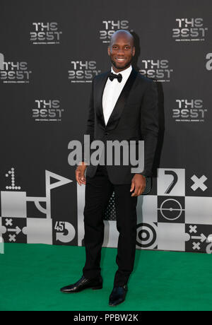 London, UK. 24th Sep, 2018. Didier Drogba arrives on the Green Carpet ahead of the Best FIFA Football Awards 2018 in London, Britain on Sept. 24, 2018. Credit: Han Yan/Xinhua/Alamy Live News - Stock Photo