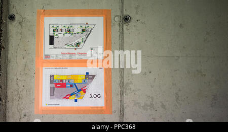 Feature - Site plan inside the shell for orientation during construction. Press appointment - guided tour of the new Axel Springer building in Berlin, Germany on 30.08.2018.   Usage worldwide - Stock Photo