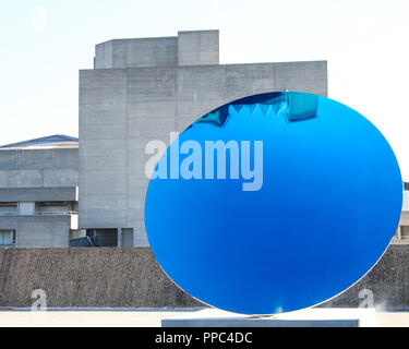 London, UK, 25th Sep 2018. Anish Kapoor's 'Sky Mirror'.Hayward Gallery's new major exhibition Space Shifters features artworks by 20 leading international artists that disrupt the visitor's sense of space and alter their perception of their surroundings. The exhibition runs 26 September  - 6 January. Credit: Imageplotter News and Sports/Alamy Live News - Stock Photo