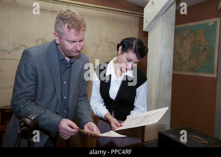 London, UK. 25th Sep, 2018. Churchill War Rooms held a photocall ahead of the Imperial War Museums published book that tells the story of the Second World War through 20 iconic documents, which will be published on Thursday 27 September. Anthony Richards, IWM's Head of Documents & Sound, displayed Churchill's 'End of the Beginning' speech notes and top secret documents involved in the Second World War deception Operation 'Mincemeat'.These documents have all been held in archives until now. Credit: Keith Larby/Alamy Live News - Stock Photo