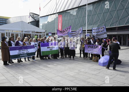 Liverpool, UK, 25th September 2018, demonstrators from the Women Against State Pension Inequality (WASPI) group, outside the Echo Arena for the Labour Party Conference. Credit David J Colbran / Alamy Live News - Stock Photo