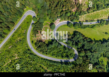 Aerial view, Winding road with hairpin bends, Am Bilstein, Highway L870, Brilon, Sauerland, North Rhine-Westphalia, Germany - Stock Photo