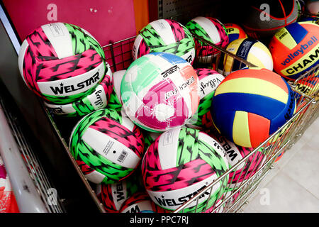 Nea Flogita, Greece, August 14, 2018: colorful  beach balls  for kids on sale in street market, close up - Stock Photo