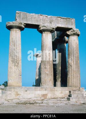 Greek art. Greece. Temple of Apollo. Doric. Built in 550 B.C. Corinth. - Stock Photo