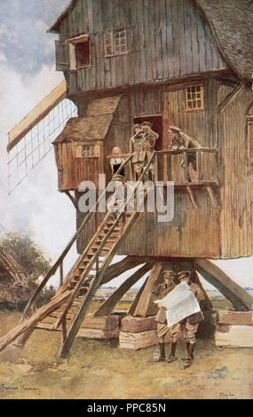First World War (1914-1918). British observation point in a mill. France. 'The French Illustration', 1918. - Stock Photo