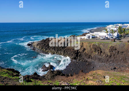 The fishing village El Golfo on the west coast, Lanzarote, Canary Islands, Spain - Stock Photo