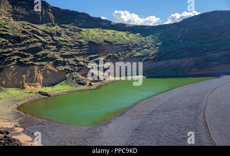 Charco de los Clicos, green lagoon lake at El Golfo, Lanzarote, Canary Islands, Spain - Stock Photo
