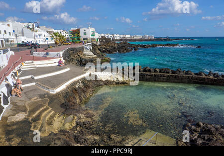 Punta Mujeres, Cape of the Women, fishing village in the north of Lanzarote, Canary Islands, Spain - Stock Photo