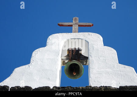 Belfry of the Church of San Roque in Tinajo, Lanzarote, Canary Islands, Spain - Stock Photo