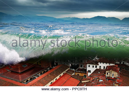 Great wave crashing above the city. Global flood. - Stock Photo