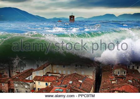 Big wave crashing above the city. Global flood. - Stock Photo