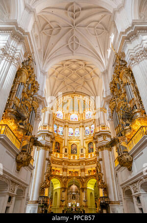 Cathedral, white interior and golden sanctuary, with stuccoed ceiling, Catedral de Granada, Granada, Andalusia, Spain - Stock Photo