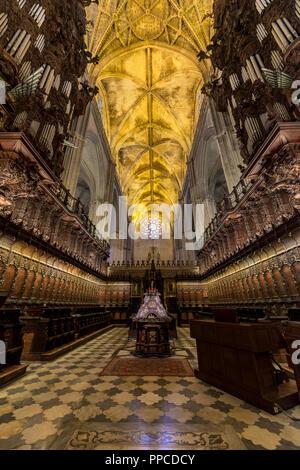 Choir stalls, interior of the Cathedral of Seville, Catedral de Santa Maria de la Sede, Seville, Andalusia, Spain - Stock Photo