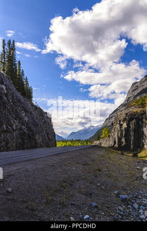 Kananaskis Country as seen from the Smith-Dorrien Spray Lakes Trail  (Highway 742) near Canmore Alberta - Stock Photo
