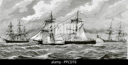 War of the Pacific (1879-1883). Western South america with Bolivia and Peru in front of Chile as a belligerants. Peruvian navy. Engraving by Capuz. La Ilustracio n Espan ola y Americana, 1879. - Stock Photo