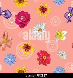 Vector colorful illustration. Seamless pattern with different flowers sunflower, Iris, rose,  Narcissus, Chamomilla  isolated on pink background with  - Stock Photo