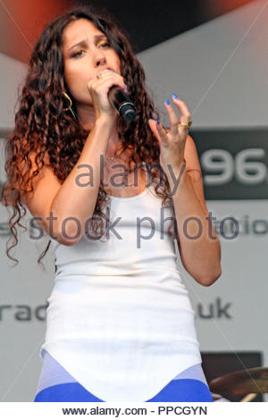 Eliza Doolittle performs on the Pier Head stage, Liverpool as part of the Liverpool International Music Festival on Saturday 24 August 2013 - Stock Photo