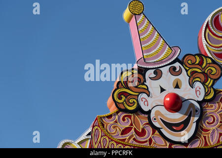 Close up artistic view of the Circus Circus Hotel and Casino sign in Las Vegas Strip - Stock Photo