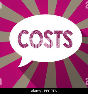 Handwriting text Costs. Concept meaning Expenditure Amount that has to be paid spent to buy obtain something. - Stock Photo