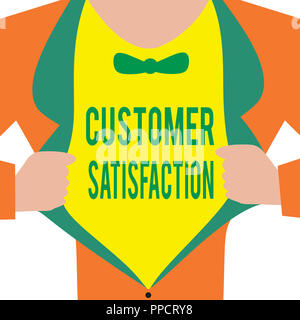 Handwriting text Customer Satisfaction. Concept meaning Exceed Consumer Expectation Satisfied over services. - Stock Photo