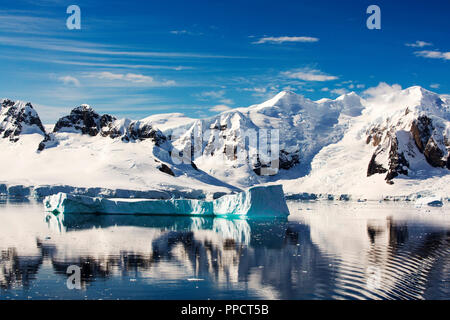 The Gerlache Strait separating the Palmer Archipelago from the Antarctic Peninsula off Anvers Island. The Antartic Peninsula is one of the fastest warming areas of the planet. - Stock Photo