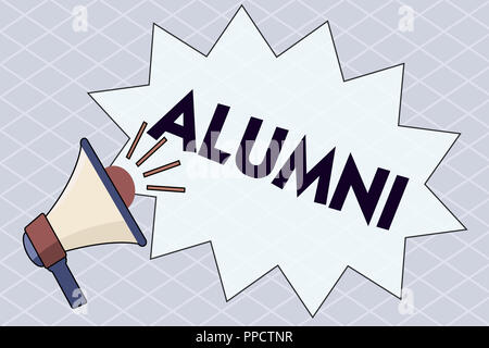 Conceptual hand writing showing Alumni. Business photo text former pupil or student especially male one of particular school. - Stock Photo