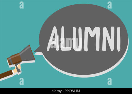 Conceptual hand writing showing Alumni. Business photo text former pupil or student especially male one of particular school Man holding megaphone lou - Stock Photo