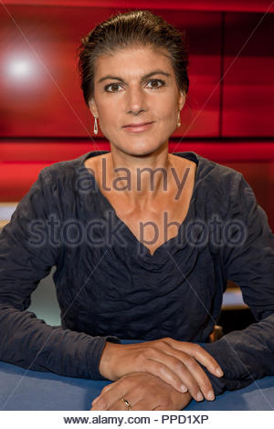 Sahra Wagenknecht, Fraktionsvorsitzende der Partei Die Linke im Studio bei Hart aber fair im Studio Adlershof in Berlin. Portrait der Politikerin. - Stock Photo