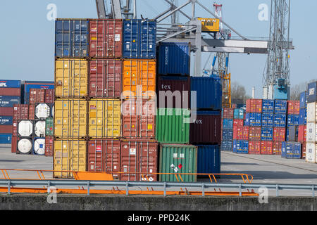 The Netherlands - Rotterdam Harbour -  Maritime transportation - Cargo handlers- International Trade - Stock Photo