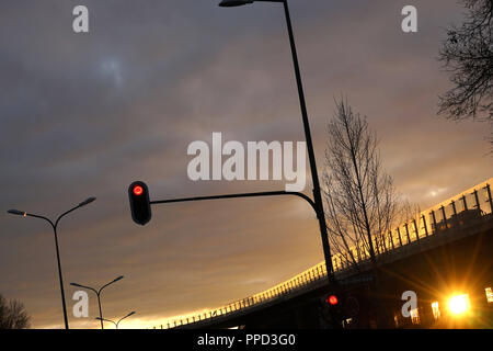 Evening mood at the entrance to the A9 motorway Munich - Nuremberg ('Tatzelwurm') at Freimann. - Stock Photo