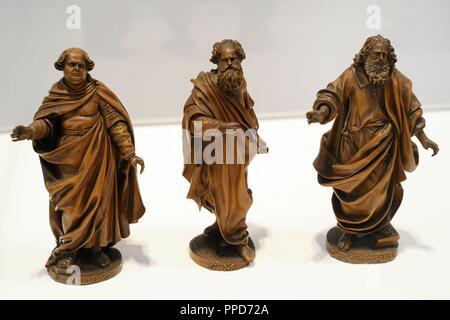 The Apostles Matthew, Matthias and Philip. Franc ois von Loo, Mecheln, 1650-1651. Boxwood. Schnu tgen Museum. Cologne, Germany. - Stock Photo