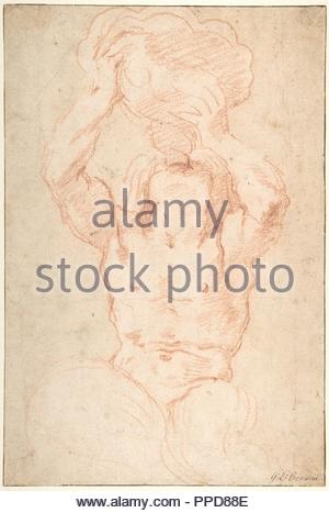 Study for a Triton (recto); Anatomical Studies ? (verso), 1642–43, Red chalk, the background tinted with an almost imperceptible pale brown wash, framing lines in pen and brown ink (recto); black chalk (verso), 14 5/16 x 9 5/8 in. (36.4 x 24.5 cm), Drawings, Gian Lorenzo Bernini (Italian, Naples 1598–1680 Rome), This rough and hasty sketch by the great Baroque sculptor effectively conveys the stance and the action of Triton as he rises from the sea and raises the huge shell to his lips. The moment depicted could be that described by Ovid in the Metamorphoses when, after the great flood, Neptun - Stock Photo