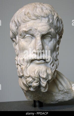 Roman Art. Imperial Period. Epicurus (c. 341-270 b.C.). Greek philosopher. Marble head (2nd century a.C.). Copy of a Greek statue of the 1st half of the 3rd century B.C. Metropolitan Museum of Art. New York. United States. - Stock Photo