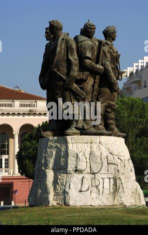 Albania. Shkodra.  Five National Heroes Monument by Shaban Haderi. - Stock Photo