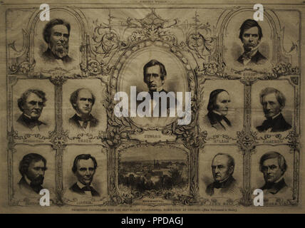 Candidates for the Republican presidential nomination in Chicago: Bates, Pennington, Chase, Fremont, Lincoln, Seward, Banks, McLean, Cameron, Bell and Clay. Wood engraving (1860). National Portrait Gallery. Washington D.C. United States. - Stock Photo