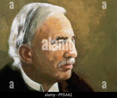 RUTHERFORD, Ernest (Nelson, New Zealand ,1871-Cambridge, 1937). English physicist. Study of radioactivity, isotopes and the structure of matter. Nobel Prize in chemistry in 1908. - Stock Photo