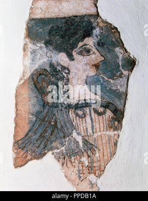 Minoan Art. La Parisienne or the Minoan Lady with the sacral knot at the back of the neck that seems to indicate that she is a priestess or even a goddess. The fresco uses the black colour for emphasizing the form of the eyes and red for the lips. It dates from the Neopalatial period, ca. 1400 B.C. The Herakleion Archaeological Museum. Crete. - Stock Photo