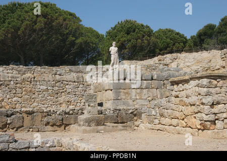 Greek Art. Emporium (Ampurias). Greek colony founded by the greeks of Foci., 570 BC. Statue of Asclepius. God of medicin. Neapolis.  Girona province. Catalonia. Spain. Europe.