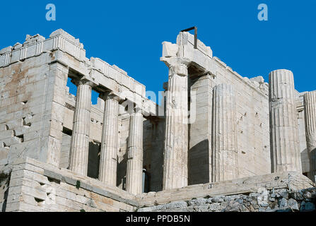 Greece. Athens. Propylaea. Monumental entrance to the sacred precinct of the Acropolis. Built between 437-432 B.C. by order of Pericles and according Mnesicles project. - Stock Photo