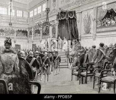 Charles I (1863-1908). King of Portugal (1889-1908). Son of Louis I and Maria Pia de Savoie. Proclamation of Charles I as king of Portugal on December 28, 1889.  Engraving of 1890. - Stock Photo