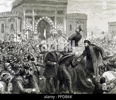 Osman Nuri Pasha, also Gazi Osman Pasha (1832-1900). Ottoman Turkish field marshal and the hero of the Siege of Plevna in 1877. Osman Nuri Pasha is received at entering at the Ministry of War. Constantinople, 1862. Engraving. 19th century. - Stock Photo