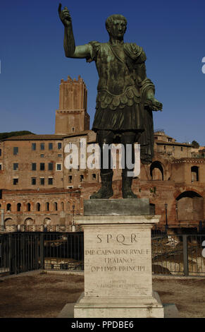 Trajan (53-117 D). Roman emperor. Contemporary bronze statue. Imperial Forums. Via dei Fori Imperiali Street. Rome. Italy. - Stock Photo